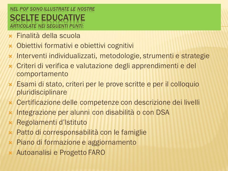 Obiettivi formativi e obiettivi cognitivi