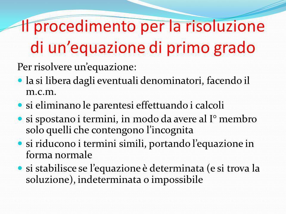 Il procedimento per la risoluzione di un'equazione di primo grado