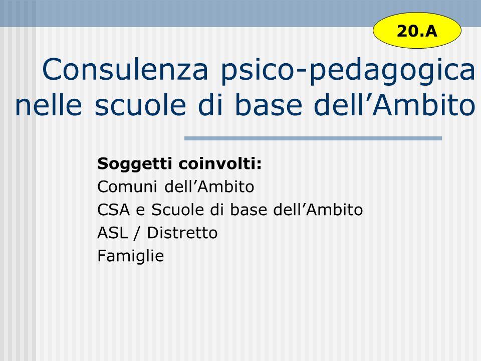 Consulenza psico-pedagogica nelle scuole di base dell'Ambito
