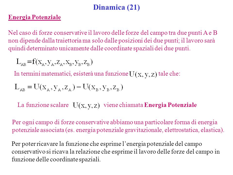 Dinamica (21) Energia Potenziale