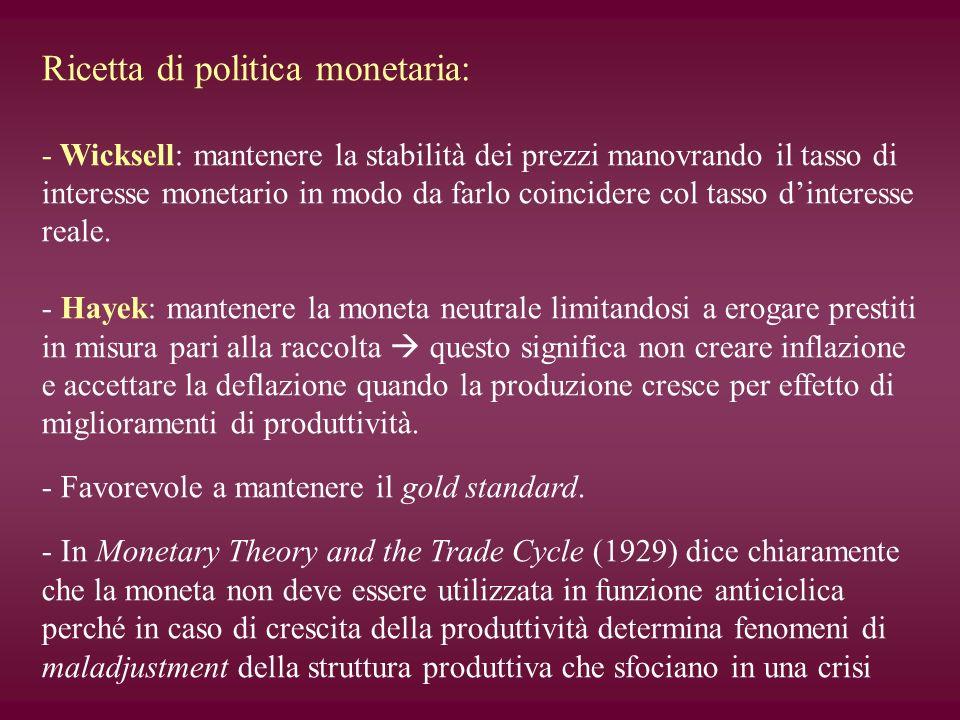 Ricetta di politica monetaria: