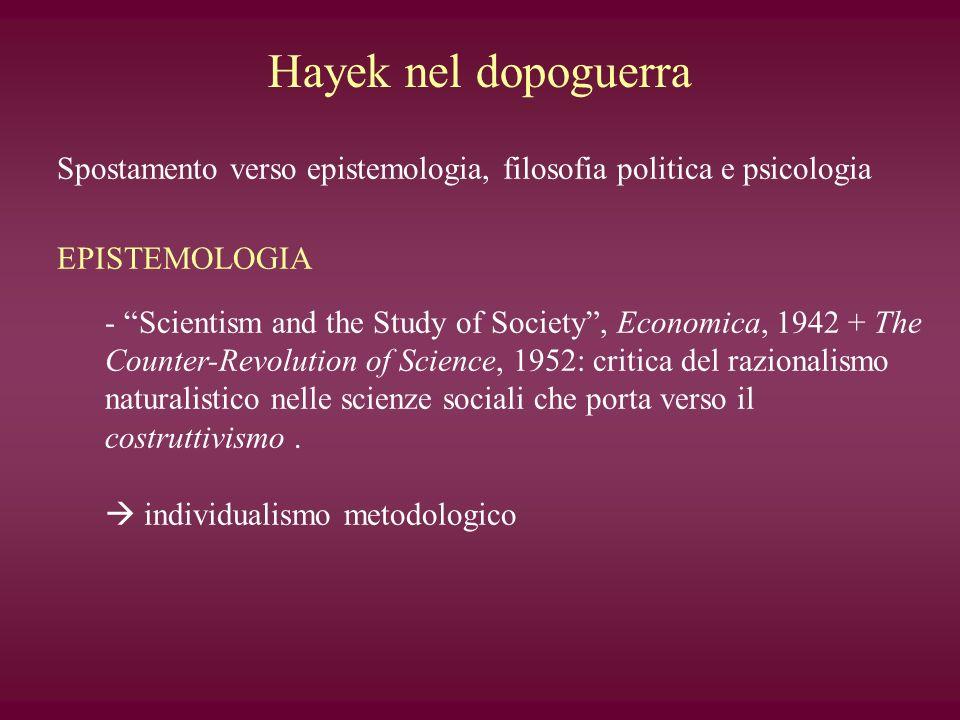 Hayek nel dopoguerra Spostamento verso epistemologia, filosofia politica e psicologia. EPISTEMOLOGIA.