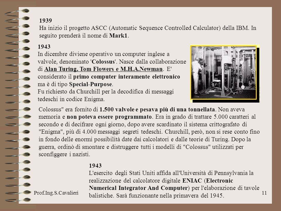 1939Ha inizio il progetto ASCC (Automatic Sequence Controlled Calculator) della IBM. In seguito prenderà il nome di Mark1.