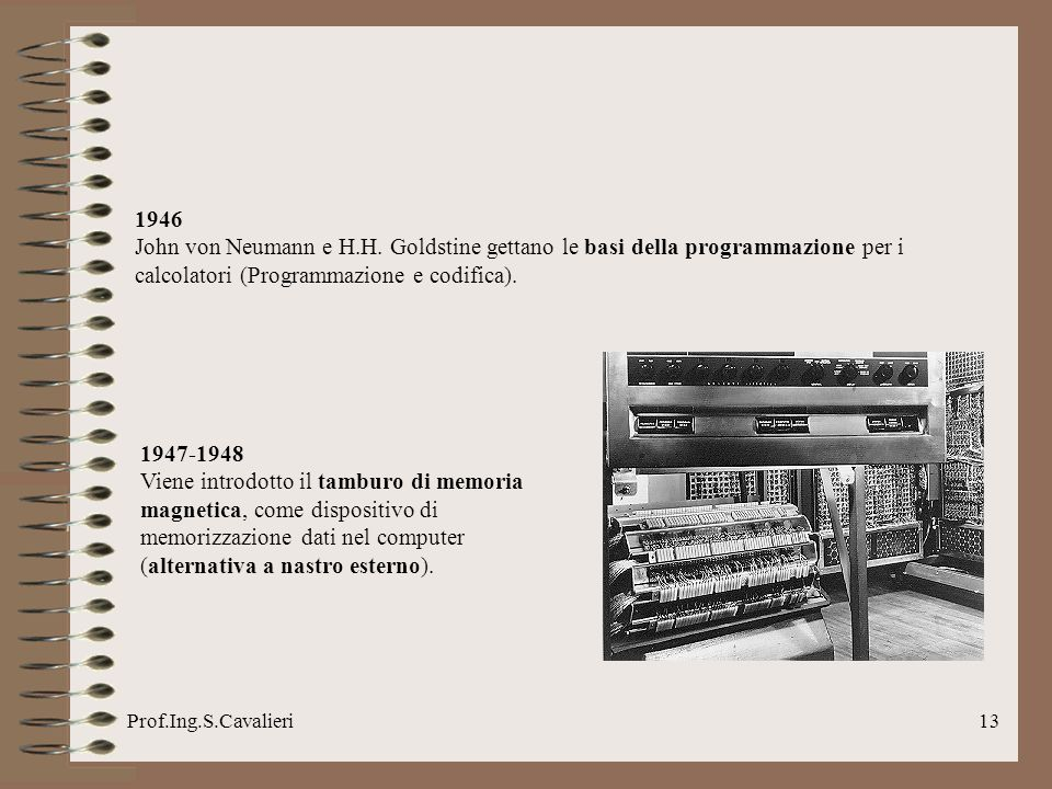 1946John von Neumann e H.H. Goldstine gettano le basi della programmazione per i calcolatori (Programmazione e codifica).