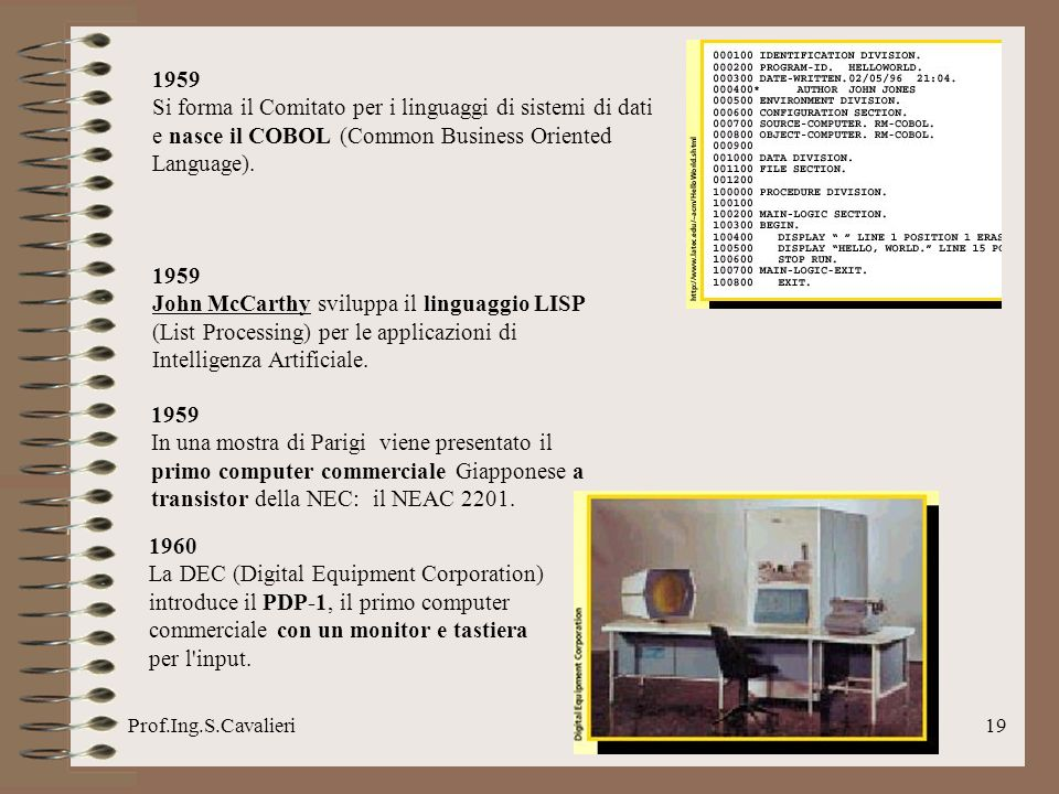 1959 Si forma il Comitato per i linguaggi di sistemi di dati e nasce il COBOL (Common Business Oriented Language).