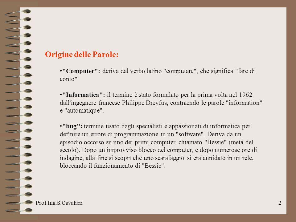 Origine delle Parole: Computer : deriva dal verbo latino computare , che significa fare di conto