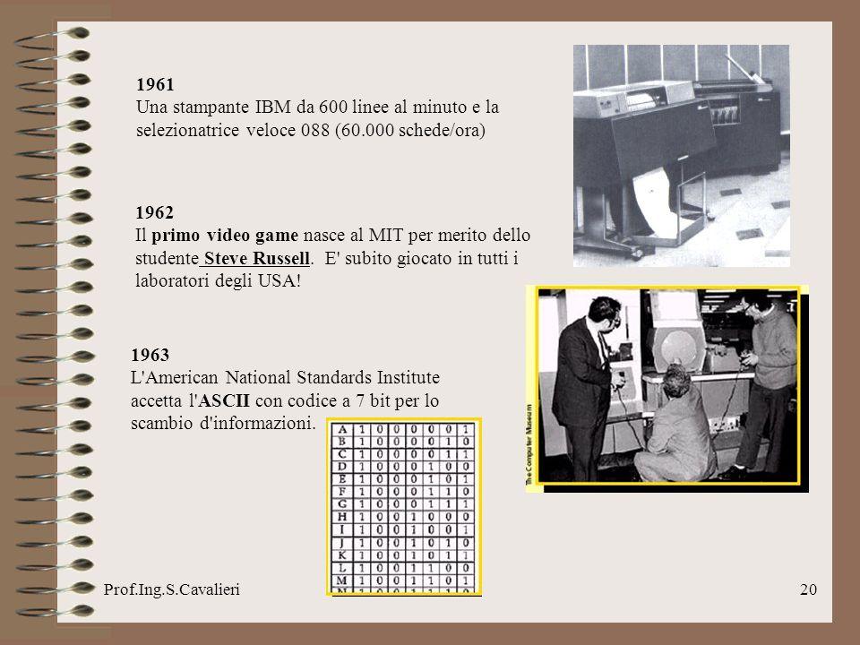 1961Una stampante IBM da 600 linee al minuto e la selezionatrice veloce 088 (60.000 schede/ora) 1962.