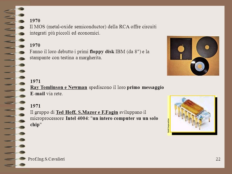 1970Il MOS (metal-oxide semiconductor) della RCA offre circuiti integrati più piccoli ed economici.