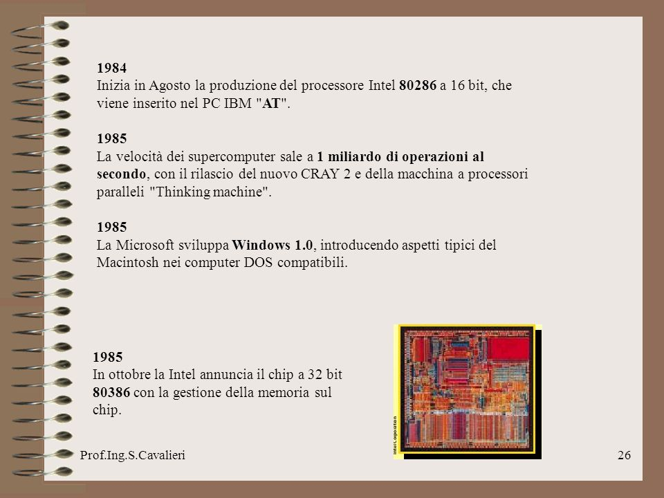 1984 Inizia in Agosto la produzione del processore Intel 80286 a 16 bit, che viene inserito nel PC IBM AT .