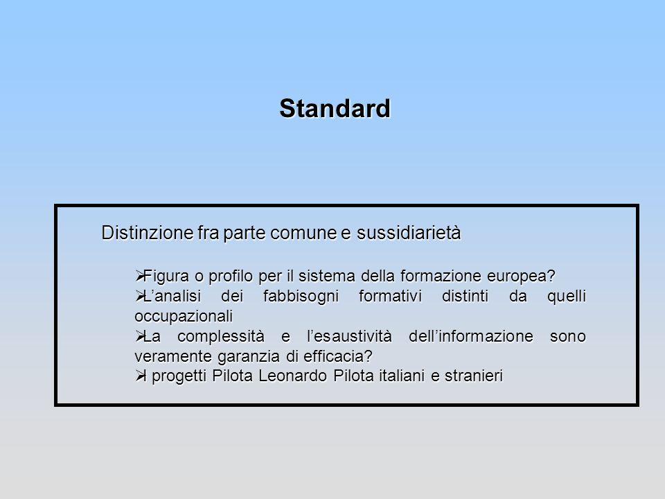 Standard Distinzione fra parte comune e sussidiarietà