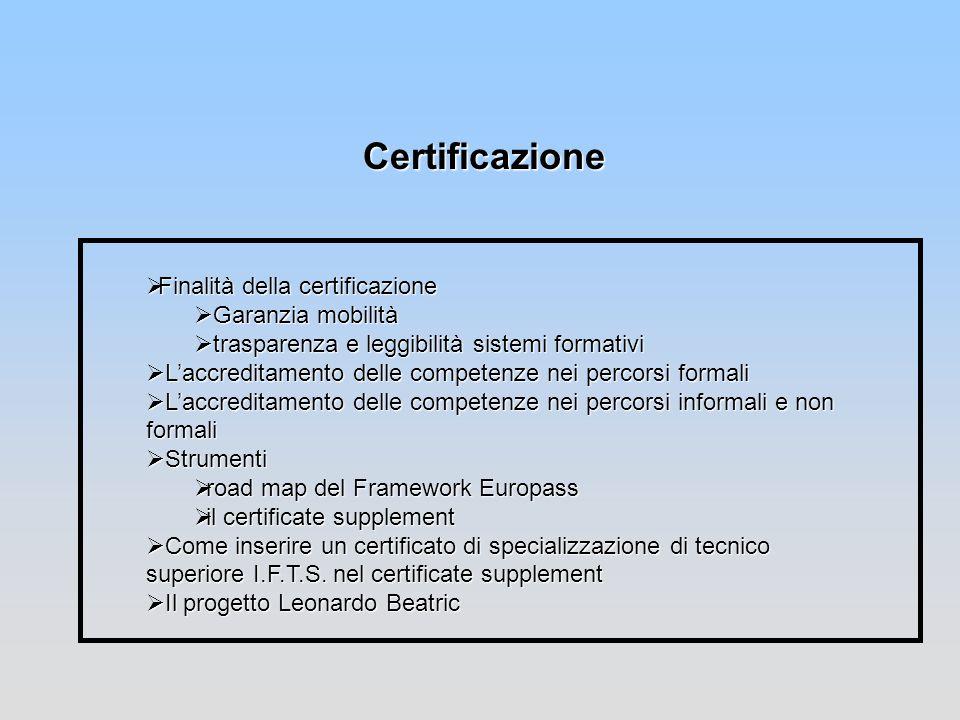 Certificazione Finalità della certificazione Garanzia mobilità