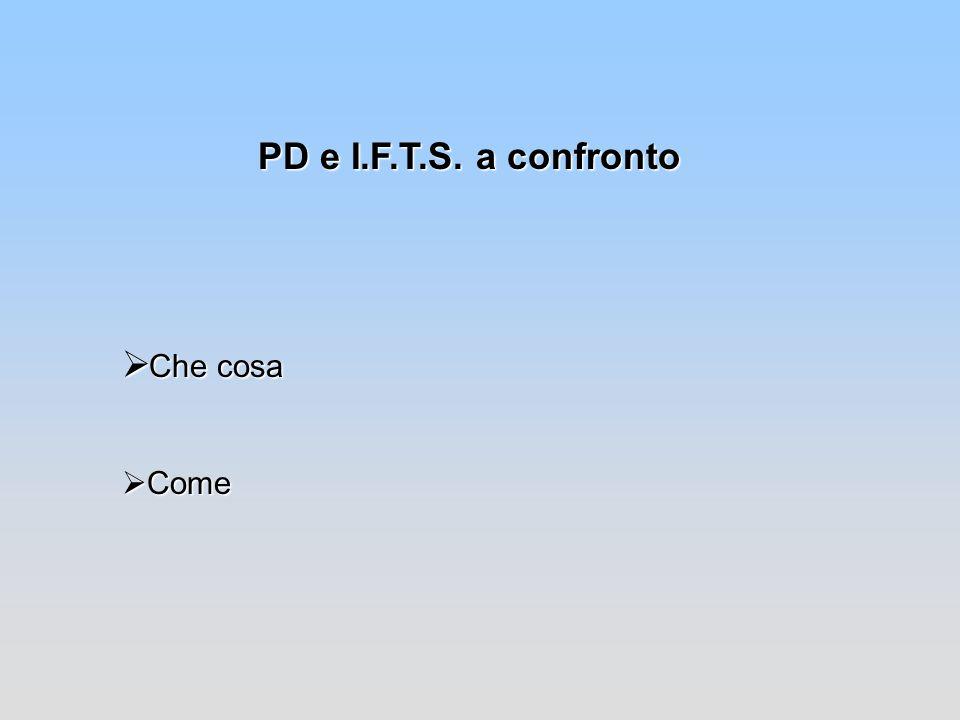 PD e I.F.T.S. a confronto Che cosa Come