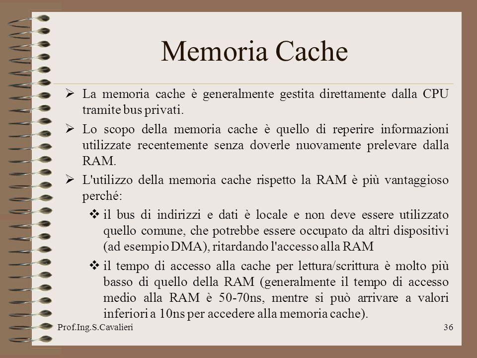 Memoria Cache La memoria cache è generalmente gestita direttamente dalla CPU tramite bus privati.