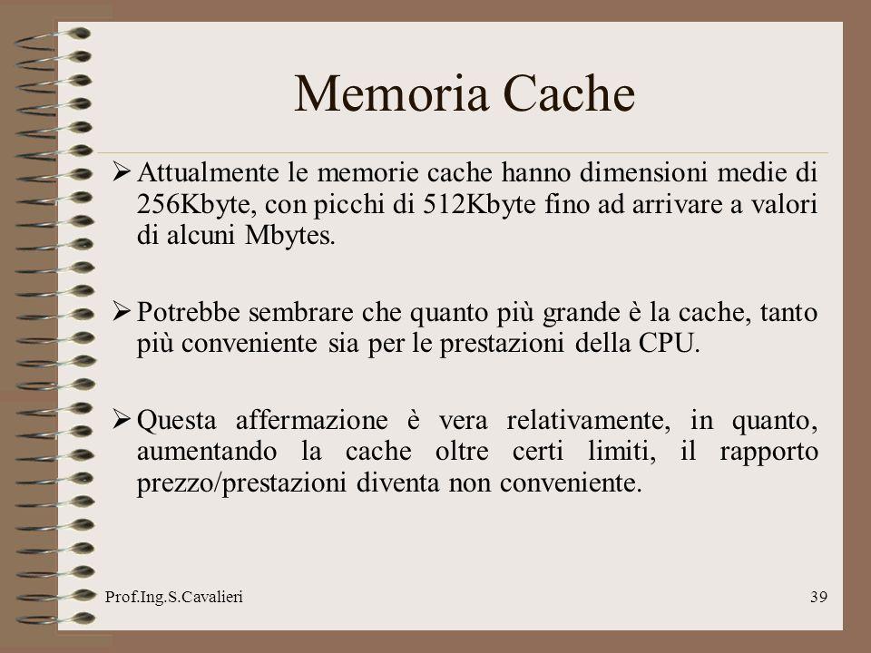 Memoria Cache Attualmente le memorie cache hanno dimensioni medie di 256Kbyte, con picchi di 512Kbyte fino ad arrivare a valori di alcuni Mbytes.