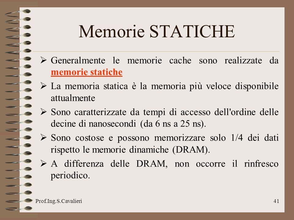 Memorie STATICHE Generalmente le memorie cache sono realizzate da memorie statiche.