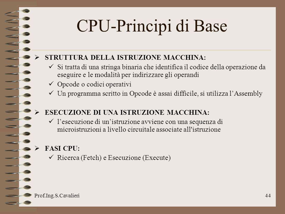 CPU-Principi di Base STRUTTURA DELLA ISTRUZIONE MACCHINA: