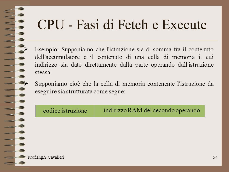 CPU - Fasi di Fetch e Execute