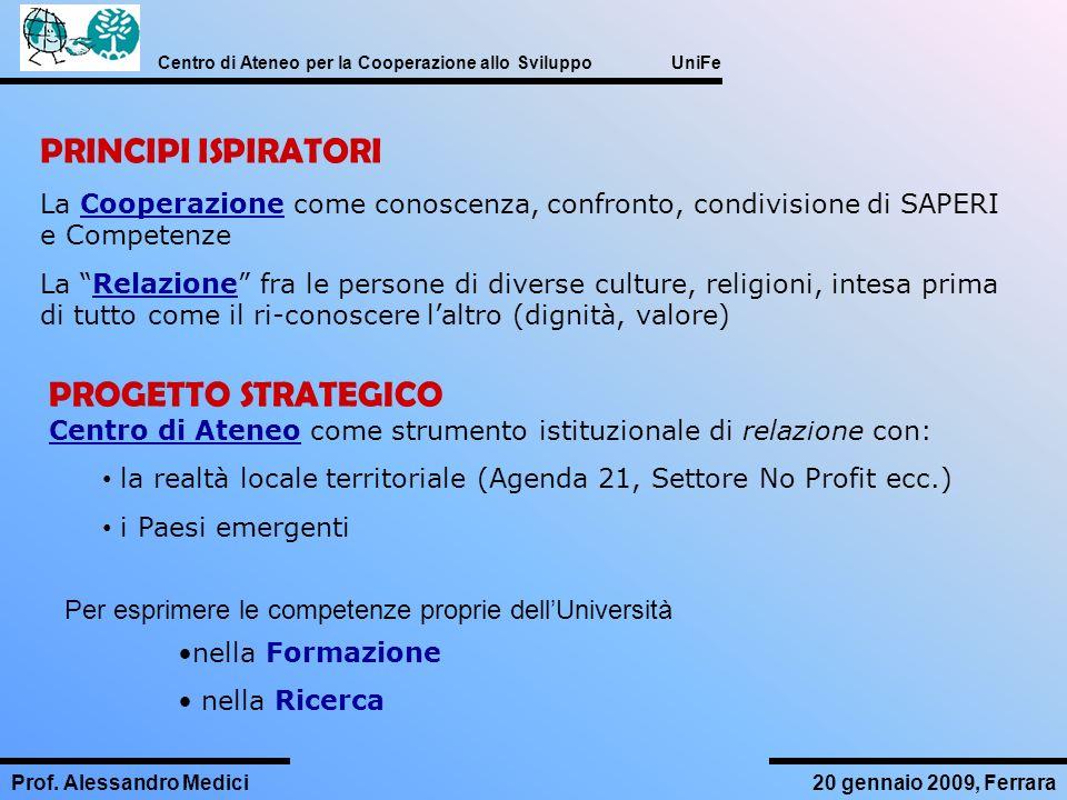 PRINCIPI ISPIRATORI La Cooperazione come conoscenza, confronto, condivisione di SAPERI e Competenze.