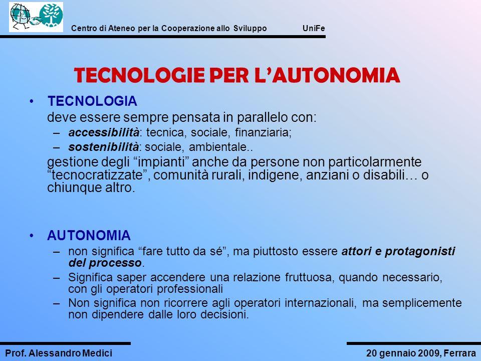 TECNOLOGIE PER L'AUTONOMIA