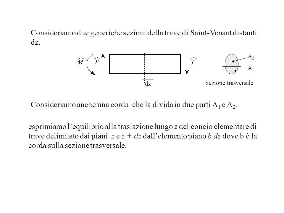 Consideriamo anche una corda che la divida in due parti A1 e A2.