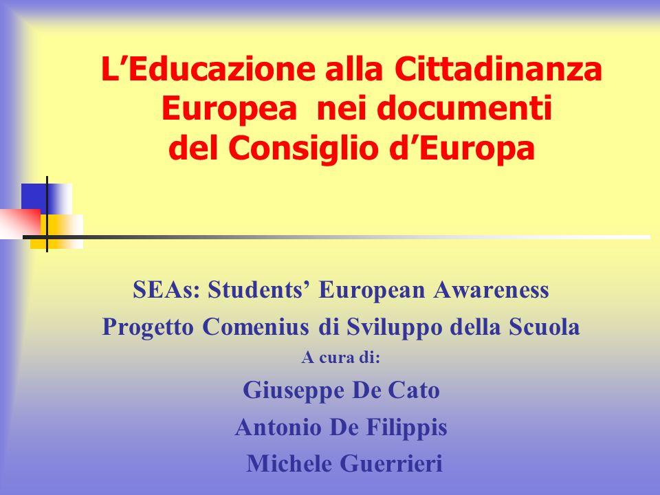 L'Educazione alla Cittadinanza Europea nei documenti del Consiglio d'Europa