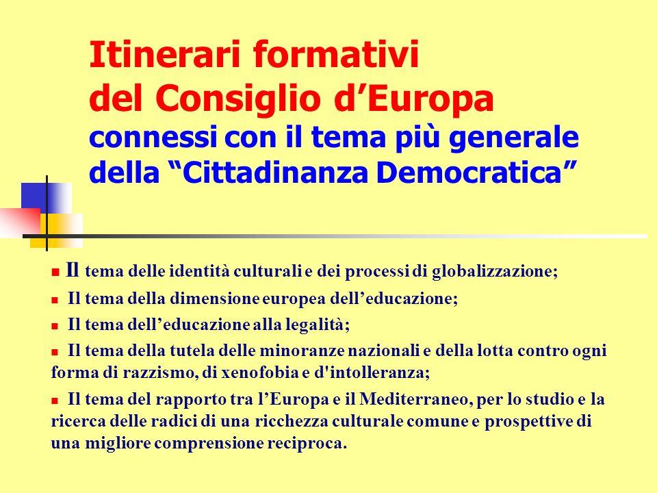 Itinerari formativi del Consiglio d'Europa connessi con il tema più generale della Cittadinanza Democratica