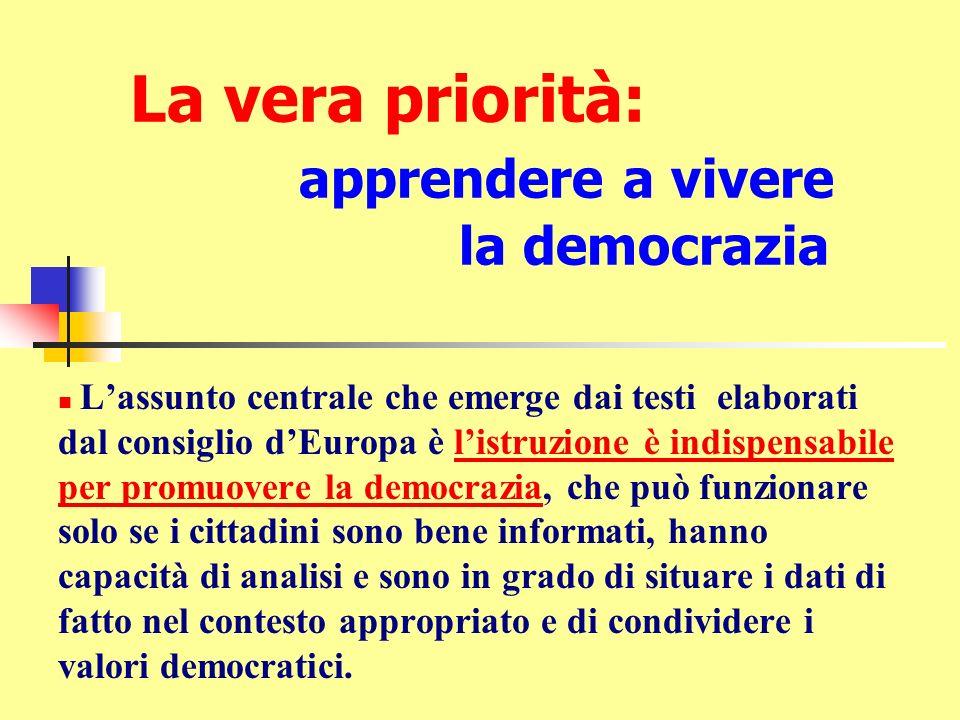 La vera priorità: apprendere a vivere la democrazia