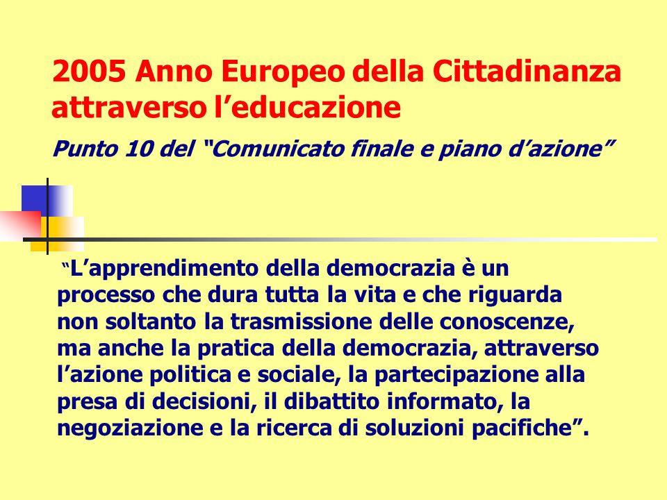 2005 Anno Europeo della Cittadinanza attraverso l'educazione Punto 10 del Comunicato finale e piano d'azione