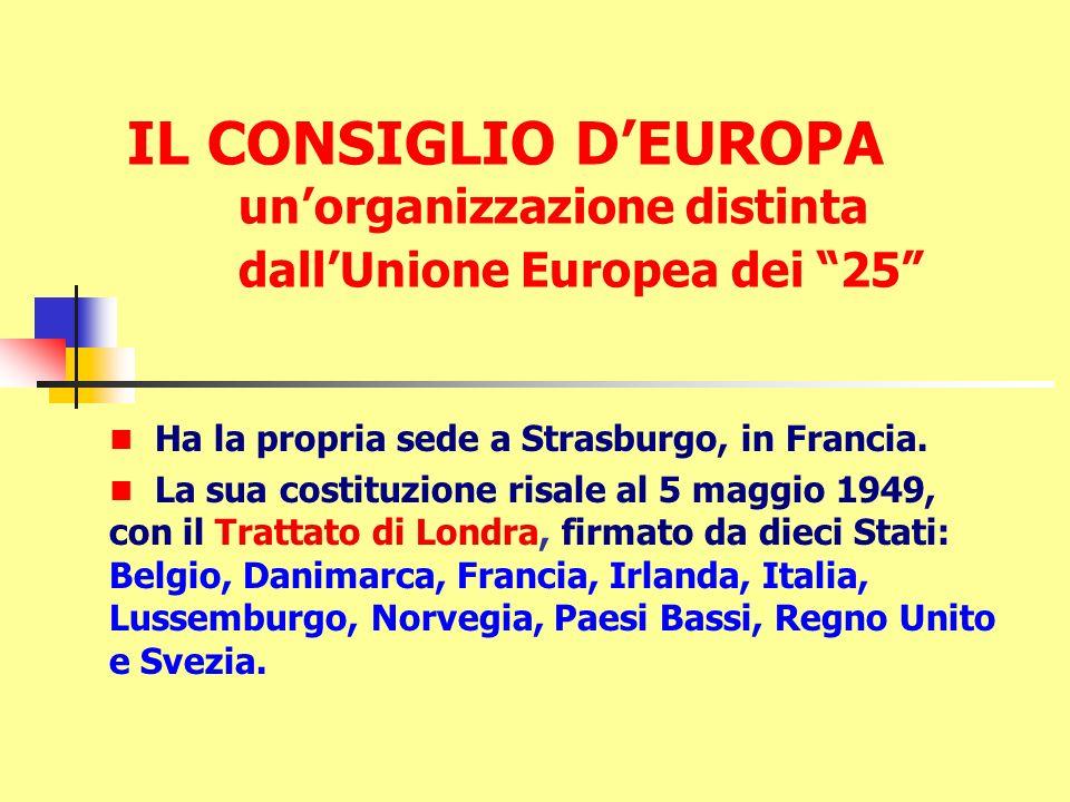 IL CONSIGLIO D'EUROPA un'organizzazione distinta dall'Unione Europea dei 25