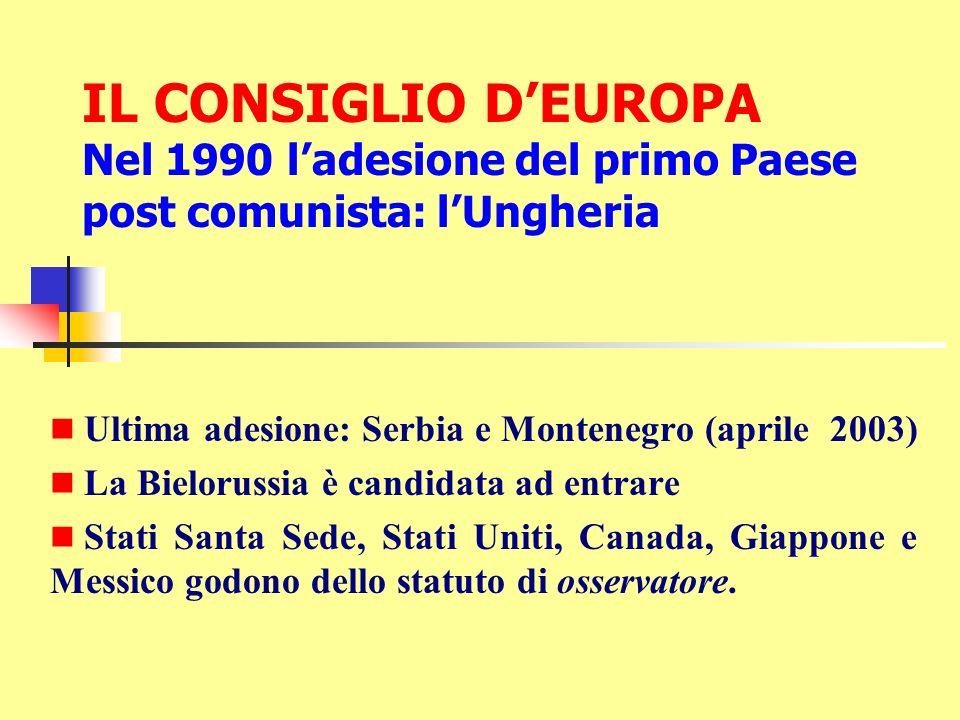 IL CONSIGLIO D'EUROPA Nel 1990 l'adesione del primo Paese post comunista: l'Ungheria