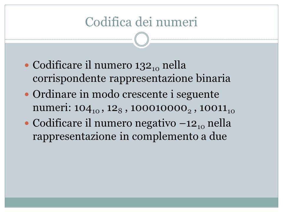 Codifica dei numeri Codificare il numero 13210 nella corrispondente rappresentazione binaria.