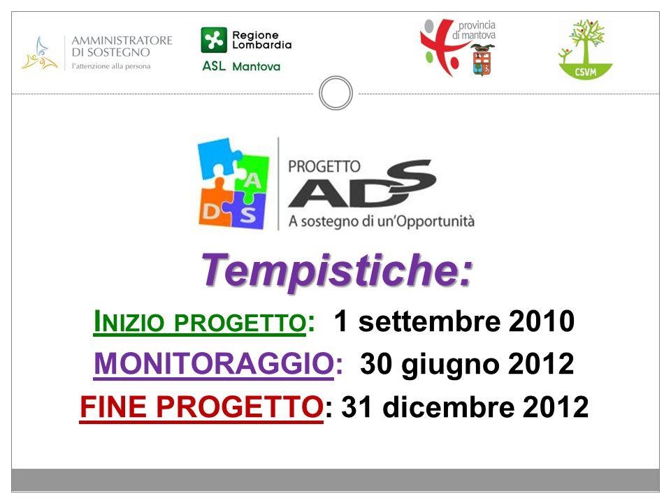 Inizio progetto: 1 settembre 2010 FINE PROGETTO: 31 dicembre 2012