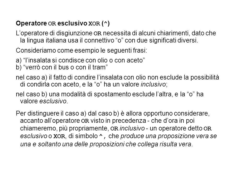 Operatore OR esclusivo XOR (^)