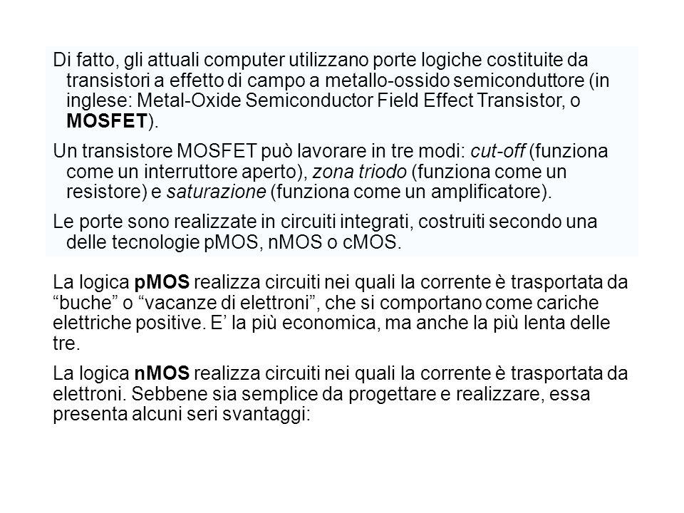 Di fatto, gli attuali computer utilizzano porte logiche costituite da transistori a effetto di campo a metallo-ossido semiconduttore (in inglese: Metal-Oxide Semiconductor Field Effect Transistor, o MOSFET).