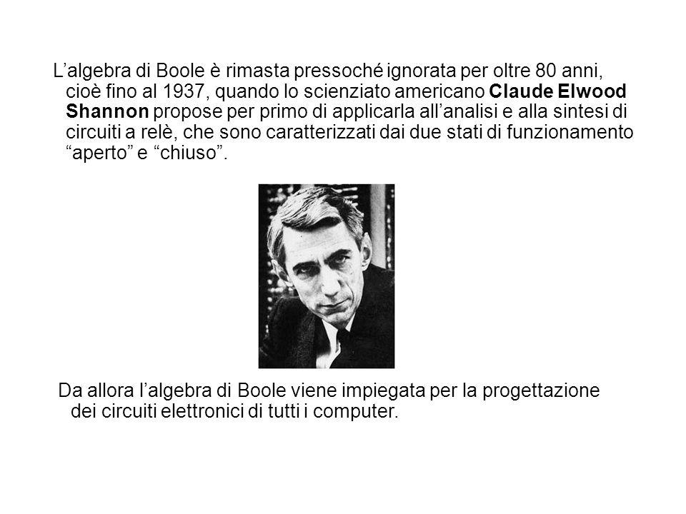 L'algebra di Boole è rimasta pressoché ignorata per oltre 80 anni, cioè fino al 1937, quando lo scienziato americano Claude Elwood Shannon propose per primo di applicarla all'analisi e alla sintesi di circuiti a relè, che sono caratterizzati dai due stati di funzionamento aperto e chiuso .