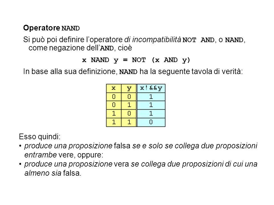 Operatore NAND Si può poi definire l'operatore di incompatibilità NOT AND, o NAND, come negazione dell'AND, cioè.