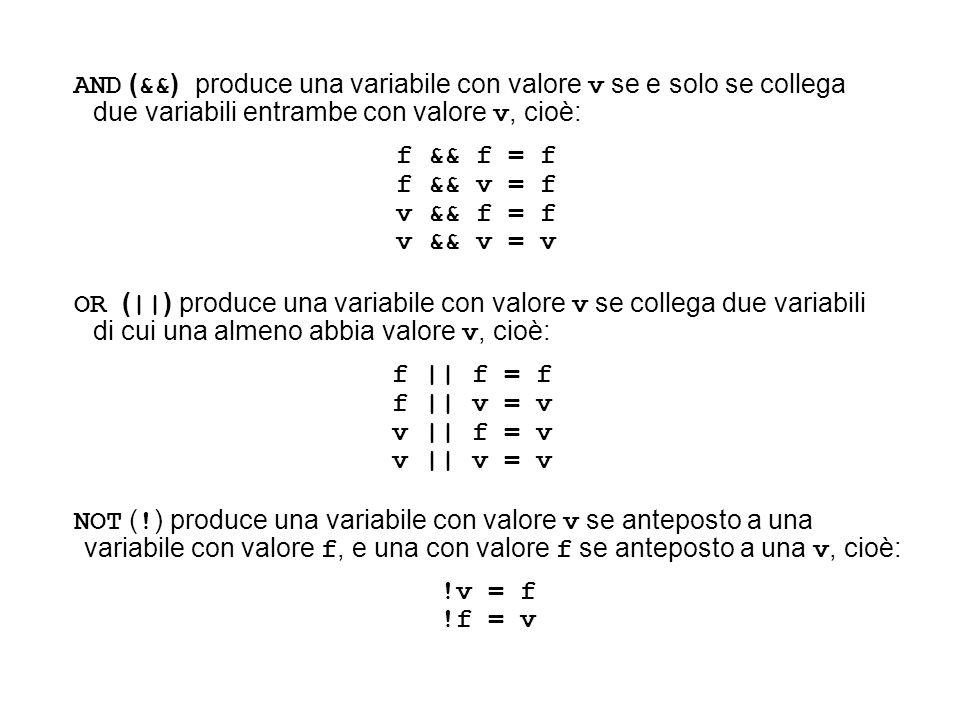 AND (&&) produce una variabile con valore v se e solo se collega due variabili entrambe con valore v, cioè: