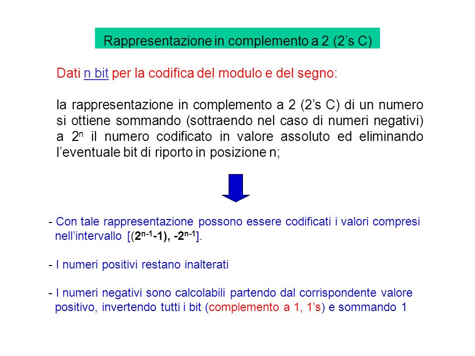Rappresentazione in complemento a 2 (2's C)