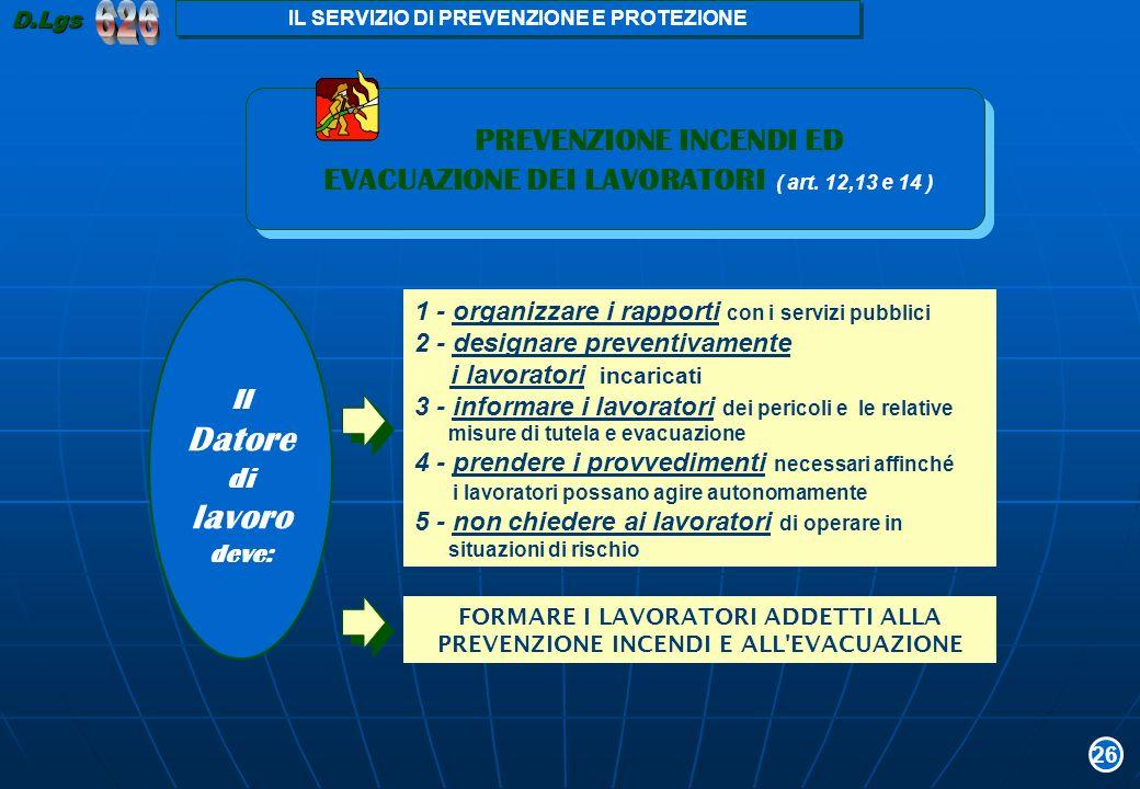 626 lavoro EVACUAZIONE DEI LAVORATORI ( art. 12,13 e 14 )