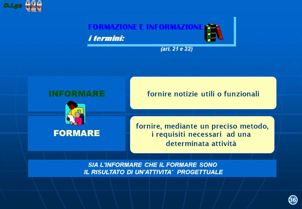 626 FORMAZIONE E INFORMAZIONE i termini: INFORMARE FORMARE