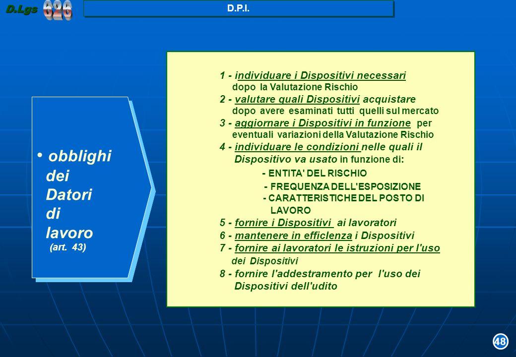 626 obblighi dei Datori di lavoro - ENTITA DEL RISCHIO D.Lgs