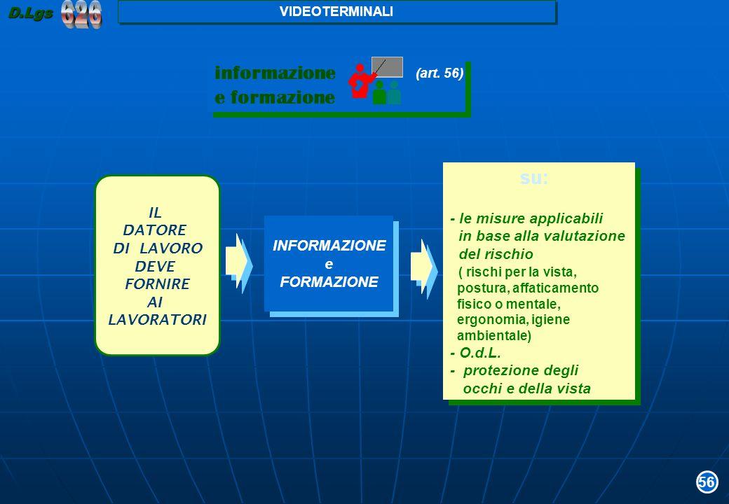 626 informazione e formazione su: D.Lgs - le misure applicabili IL