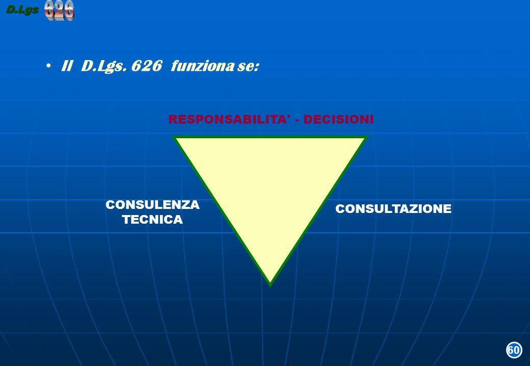 626 Il D.Lgs. 626 funziona se: RESPONSABILITA - DECISIONI CONSULENZA