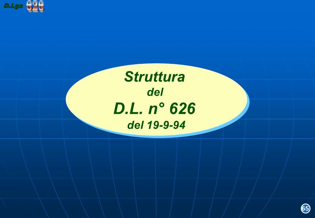 D.Lgs 626 Struttura del D.L. n° 626 del 19-9-94 65