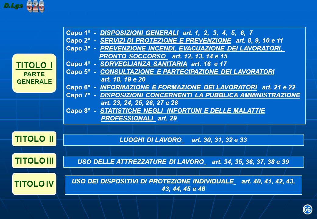 USO DELLE ATTREZZATURE DI LAVORO art. 34, 35, 36, 37, 38 e 39