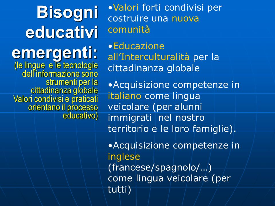 Bisogni educativi emergenti: