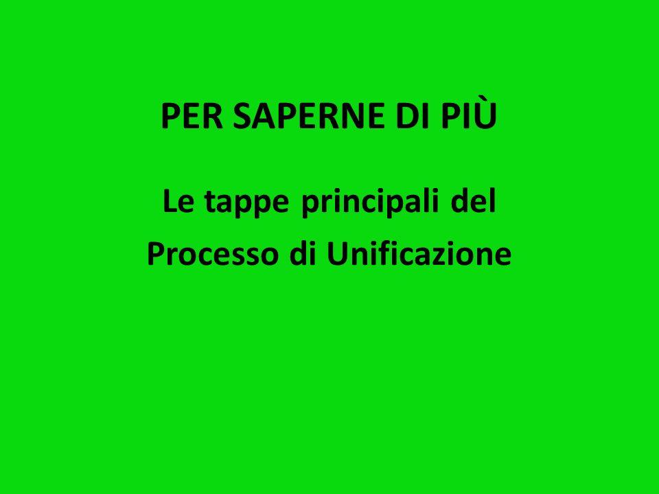 Le tappe principali del Processo di Unificazione