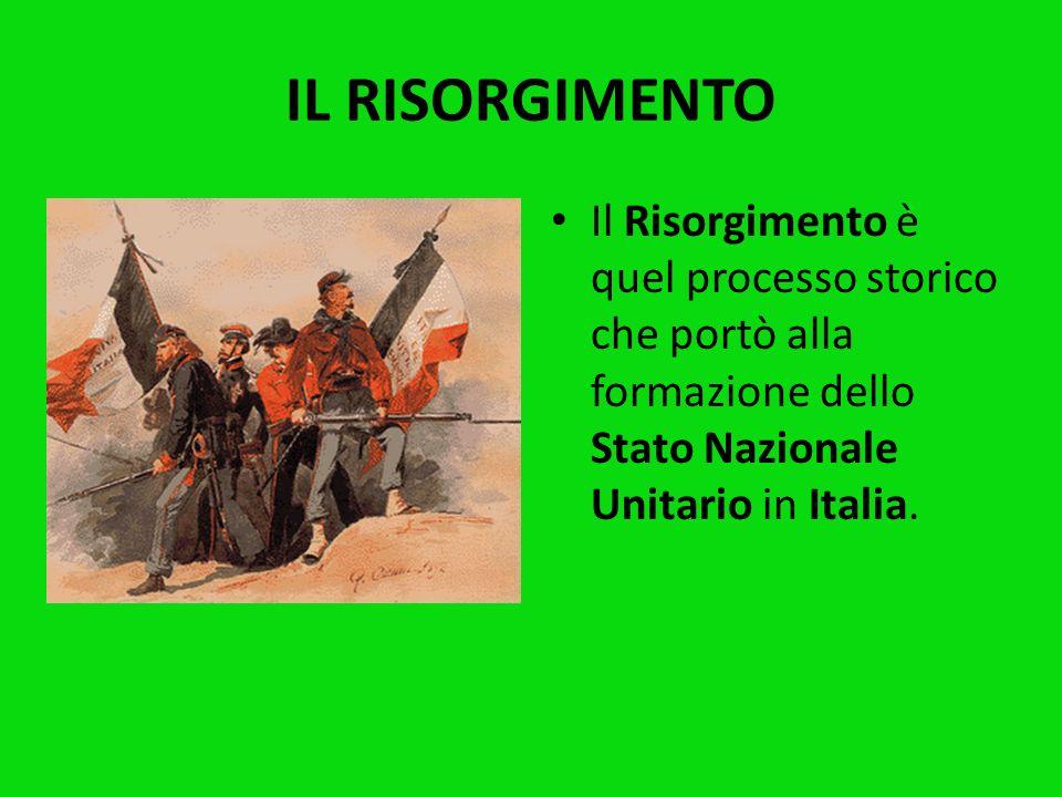 IL RISORGIMENTOIl Risorgimento è quel processo storico che portò alla formazione dello Stato Nazionale Unitario in Italia.