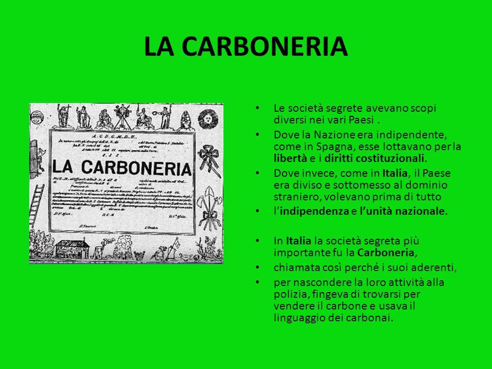 LA CARBONERIA Le società segrete avevano scopi diversi nei vari Paesi .