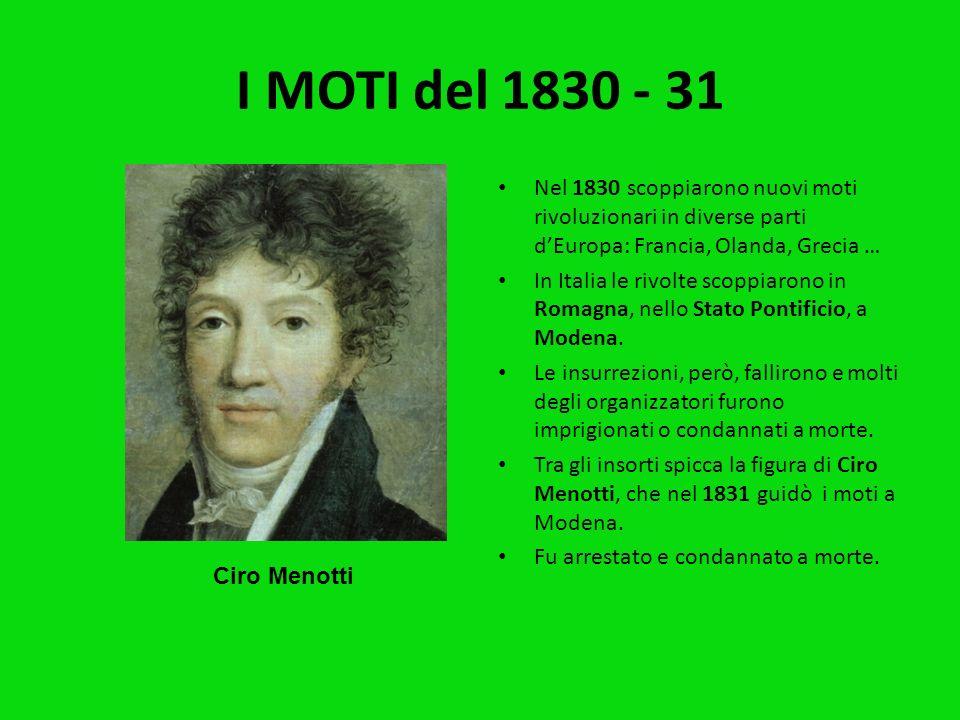 I MOTI del 1830 - 31Nel 1830 scoppiarono nuovi moti rivoluzionari in diverse parti d'Europa: Francia, Olanda, Grecia …